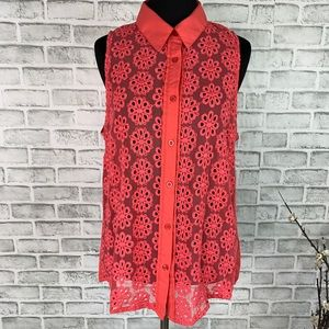 UO Pins And Needles Floral Collared Button Up Top
